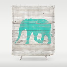 Turquoise Elephant on White Wood A222b Shower Curtain