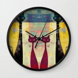 MidMod 4 Cats Graffiti Wall Clock