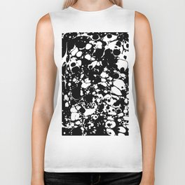 Black and white contrast ink spilled paint mess Biker Tank