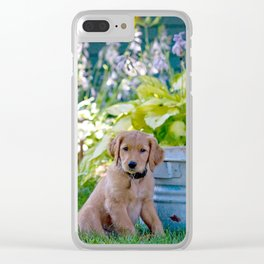 Golden puppy with wash tub Clear iPhone Case