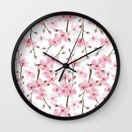 Cherry Blossom Watercolor Spring Blossom pink Wall Clock