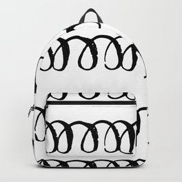 Black Spirals on White Backpack