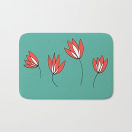 Whimsical Red and Teal Flowers by Emma Freeman Designs Bath Mat