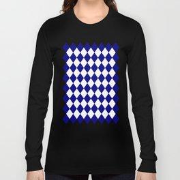Diamonds (Navy Blue/White) Long Sleeve T-shirt