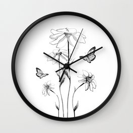 Flowers and butterflies 2 Wall Clock