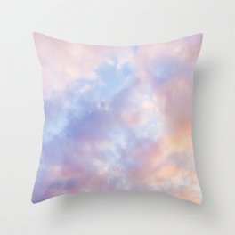 cotton candy clouds Throw Pillow