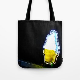 Ice Cream Cone Neon Sign Tote Bag