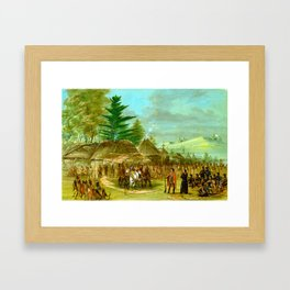 George Catlin Chief of the Taensa Indians Receiving La Salle Framed Art Print