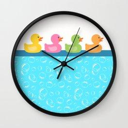 Rubber Duck Bubbles Ducks in a Row Bathroom Wall Clock