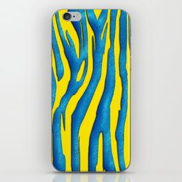 Bright Yellow & Blue Zebra Print iPhone Skin
