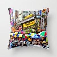 korean Throw Pillows featuring Korean Rain (Painted Version) by Anthony M. Davis
