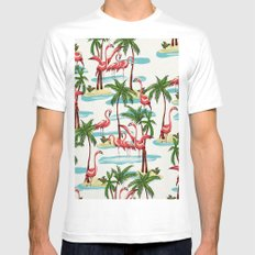 Trump Flamingo Pattern Mens Fitted Tee White X-LARGE