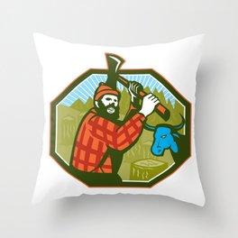 Paul Bunyan LumberJack Axe Blue Ox Babe Throw Pillow