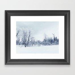 Freezing trees in a winterland decor Framed Art Print