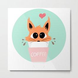 Coffee Fox Metal Print