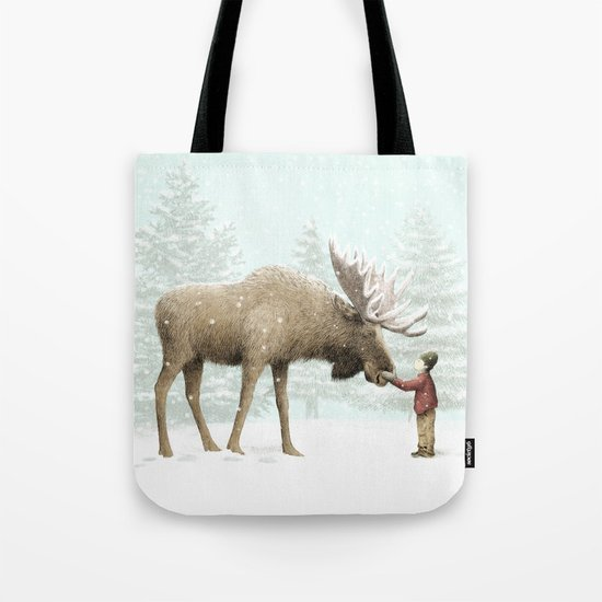 Winter Moose Tote Bag