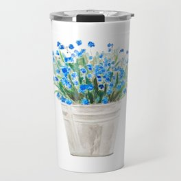 blue forget me not in a basket watwercolor Travel Mug