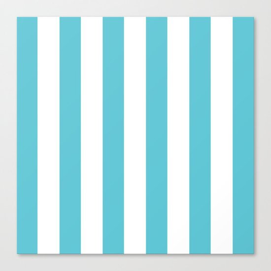 Simply Vertical Stripes in Seaside Blue Canvas Print