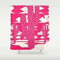 yetiland Shower Curtains featuring Red Dessert by Yetiland