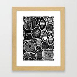 Black and white pattern - linogravure style Framed Art Print