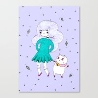bee and puppycat Canvas Prints featuring Bee and Puppycat  by Alxndra Cook