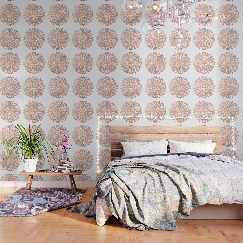 Rose Gold Floral Mandala Wallpaper By Julieerindesigns Society6