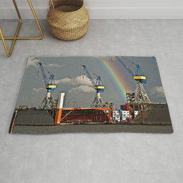 Rainbow over the port of HAMBURG Rug