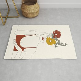 Colorful Thoughts Minimal Line Art Woman with Flowers II Rug