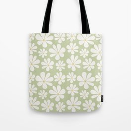 Floral Daisy Pattern - Green Tote Bag