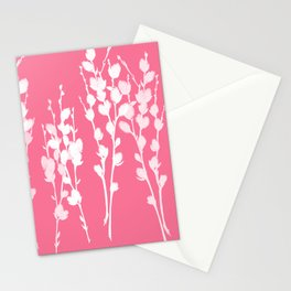 Big Azalea Pink Pussywillow Silhouettes Stationery Cards