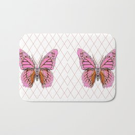 ABSTRACTED  PINK  BUTTERFLY MONARCHS  & WHITE PATTERN Bath Mat