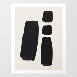 Mid Century Modern Minimalist Abstract Art Brush Strokes Black & White Ink Art Square Shapes Art Print