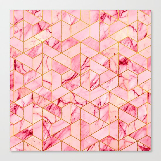 Pink Marble Hexagonal Pattern Canvas Print