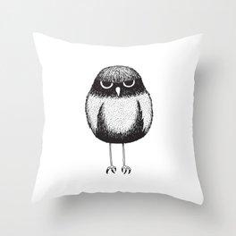Grumpy Burrowing Owl Sketch Throw Pillow
