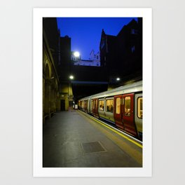 London Underground at Night   Red & Yellow Color Photography   Travel Photography   Photo Print   Art Print Art Print