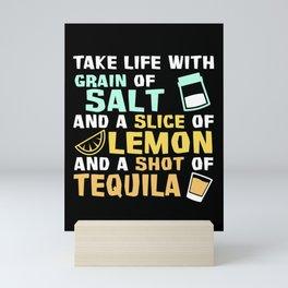 Tequila Life Salt Lime Saying Mini Art Print