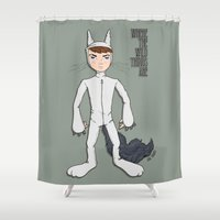 wild things Shower Curtains featuring Wild Things by Kenneth Shinabery