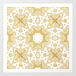 Golden pattern Art Print