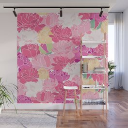 Bunch of Colorful Peonies Flowers Pattern Wall Mural