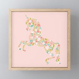 Floral Unicorn in Pink Framed Mini Art Print