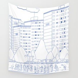 waiting for the bus Wall Tapestry