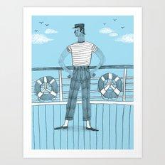 Sailor on deck Art Print
