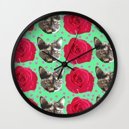 Calico Roses Wall Clock
