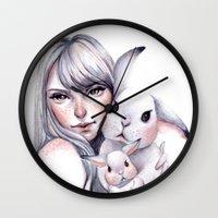 cuddle Wall Clocks featuring Cuddle! by Koanne Ko