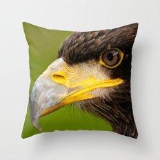 Intense Gaze of a Golden Eagle Throw Pillow