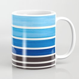 Blue Minimalist Mid Century Modern Color Fields Ombre Watercolor Staggered Squares Coffee Mug