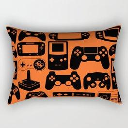 Retro Controllers - Orange  Rectangular Pillow