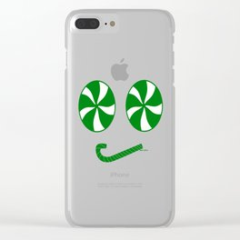 Grumpy Green Peppermint Emoji Face - Rasha Stokes Clear iPhone Case