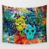sugar skulls Wall Tapestries featuring Sugar Skulls by haroulita