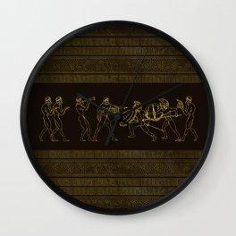 Ancient Sparta  Greece scene on greek pattern Wall Clock